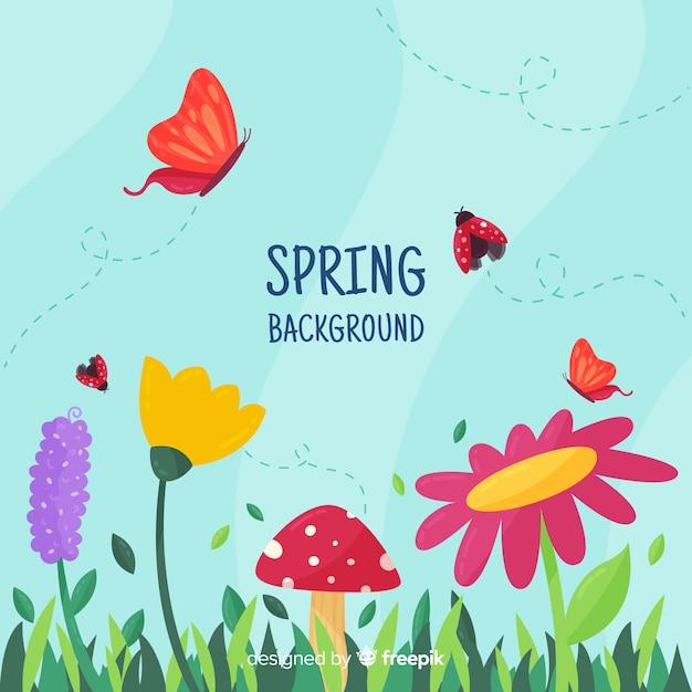 Insetos voando fundo primavera Vetor grátis