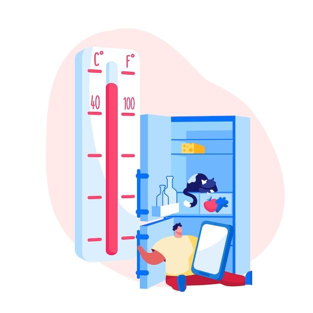 Insolação, condições de aquecimento extremas Vetor Premium