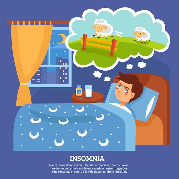 Insomnia people problems flat poster Vetor grátis