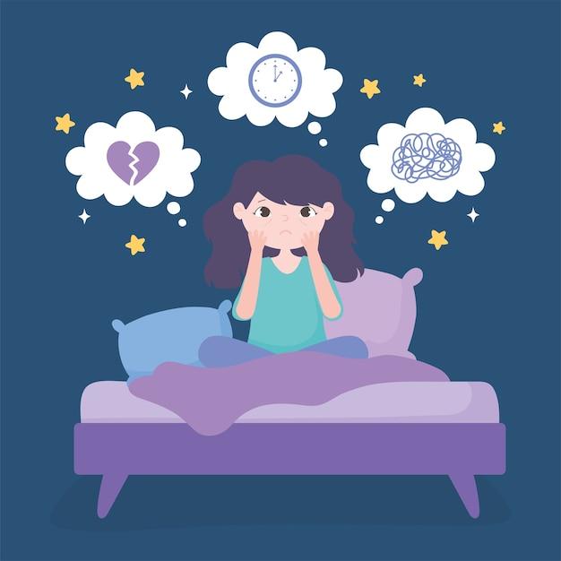 Insônia, menina na cama com ilustração vetorial de ansiedade e depressão |  Vetor Premium