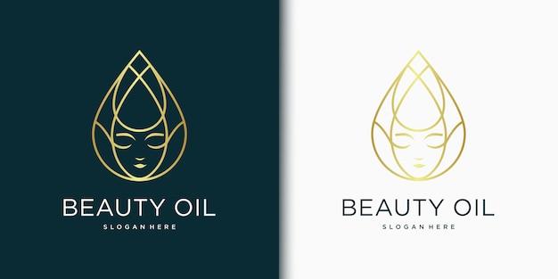 Inspiração de design de logotipo de beleza para cuidados com a pele, salões de beleza e spa, com o conceito de gotas de óleo / água Vetor Premium