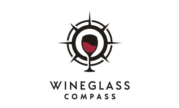 Inspiração de design de logotipo de bússola e copo de vinho Vetor Premium