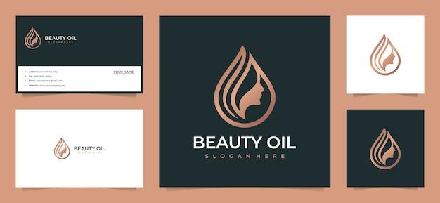 Inspiração de design de logotipo de cabelo de mulheres de beleza com cartão de visita Vetor Premium