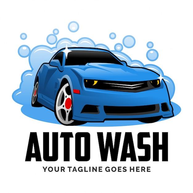 Inspiração de design de logotipo de desenhos animados de lavagem de carro auto Vetor Premium