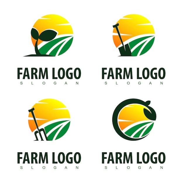 Inspiração de design de logotipo de fazenda Vetor Premium