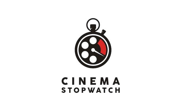 Inspiração de design de logotipo de filme temporizador Vetor Premium
