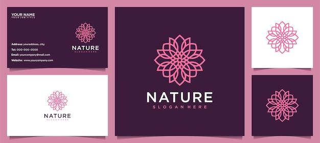 Inspiração de design de logotipo de flores para cuidados com a pele, ioga, cosméticos, salões de beleza e spa, com conceito de linha e cartão de visita Vetor Premium