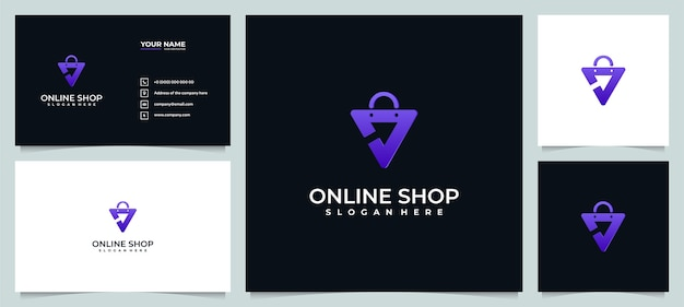 Inspiração de design de logotipo de loja online com cartão de visita Vetor Premium