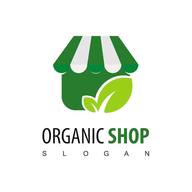 Inspiração de design de logotipo de loja orgânica Vetor Premium