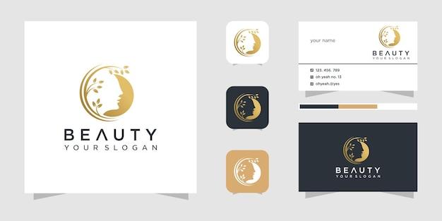 Inspiração de design de logotipo de rosto de beleza e cartão de visita. Vetor Premium