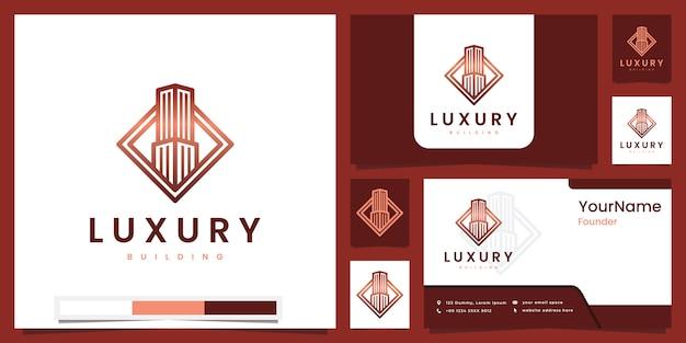 Inspiração de design de logotipo de versão de arte de linha de edifício de luxo Vetor Premium