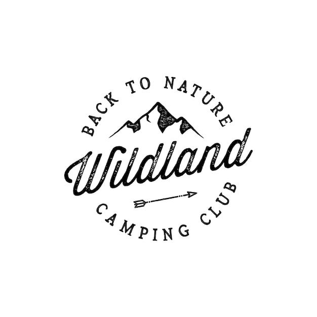 Inspiração de design de logotipo vintage montanha distintivo Vetor Premium