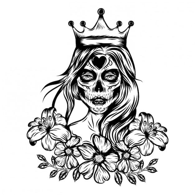 Inspiração de ilustração de ilustrações de rainha da arte de rosto com coroa e flor vintage Vetor Premium