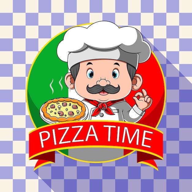 Inspiração de logotipo para pizzaria com chef Vetor Premium