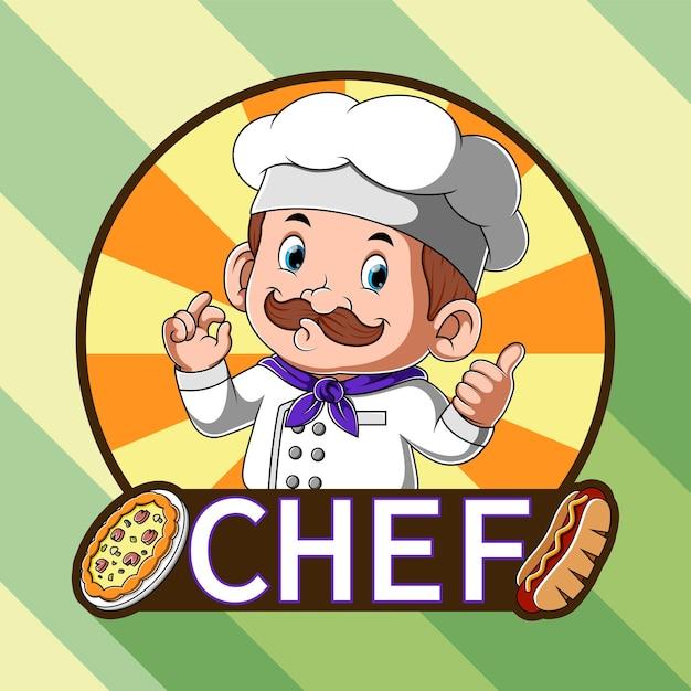 Inspiração de logotipo para restaurante de pizza e cachorro-quente com chef Vetor Premium