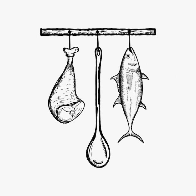 Inspiração de vetor de comida de cozinha de suspensão Vetor Premium