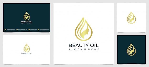 Inspiração do design de logotipo de mulheres de beleza para cuidados com a pele, salões de beleza e spa, com o conceito de gotas de água de óleo Vetor Premium