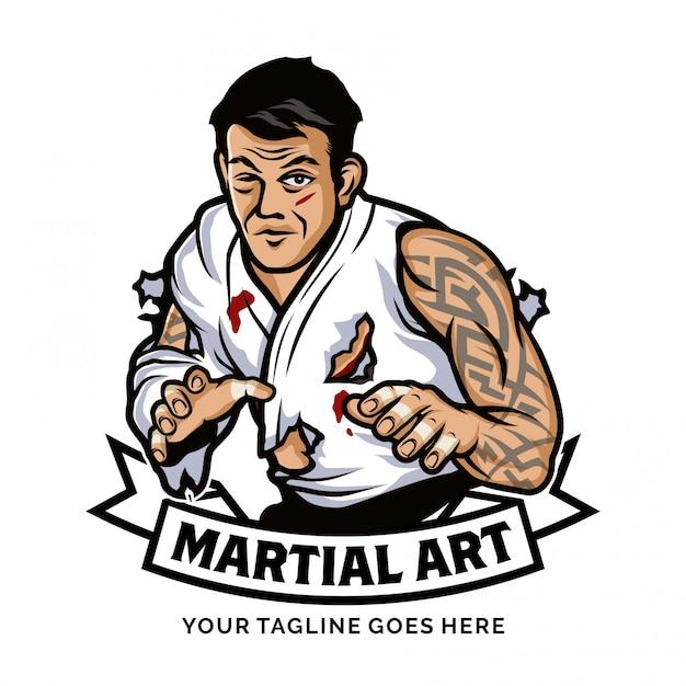 Inspiração do design do logotipo da arte marcial Vetor Premium