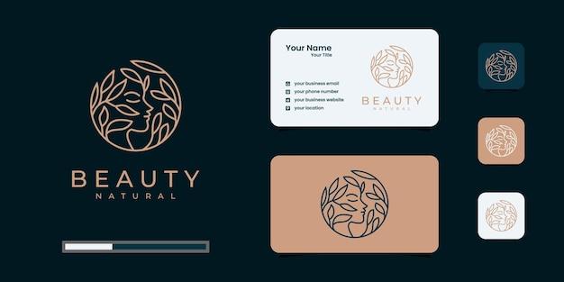 Inspiração do logotipo de mulheres de beleza com cartão de visita para cuidados com a pele, salões e spas, com combinação de folhas Vetor Premium