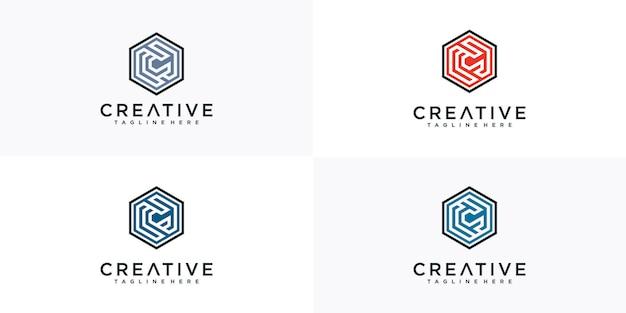 Inspiração do logotipo do hexágono da letra c Vetor Premium