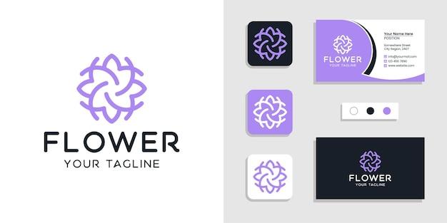 Inspiração do logotipo floral da flor e do modelo de cartão de visita Vetor Premium