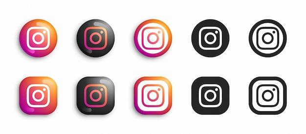 Instagram moderno 3d e conjunto de ícones plana Vetor Premium