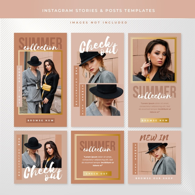 Instagram stories and posts templates Vetor Premium