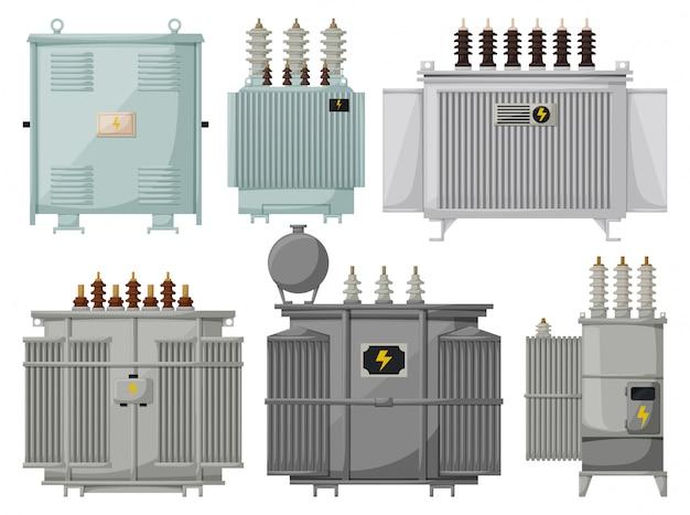 Instalação do transformador em fundo branco. subestação de energia ícone isolado dos desenhos animados. conjunto de desenhos animados transformador de ícone. Vetor Premium