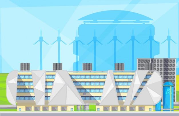 Instalações de instalações ecologicamente corretas com resíduos para conversão de energia em tecnologia de conversão Vetor grátis