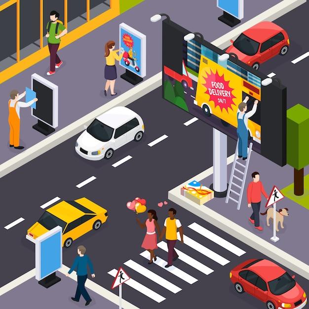 Instaladores de agências de publicidade colocando banners dentro de ruas movimentadas da cidade encruzilhada ilustração isométrica diurna Vetor grátis