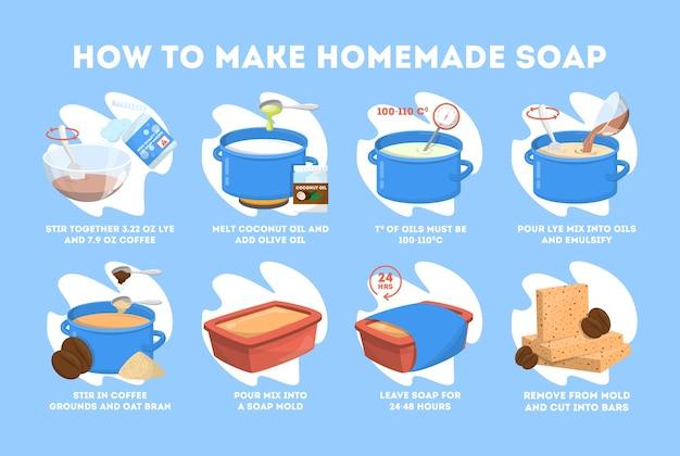 Instrução de sabonete artesanal para banho e beleza. Vetor Premium