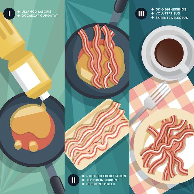 Instruções de culinária de fritar bacon. panela e óleo, xícara de café, carne e café da manhã. Vetor grátis