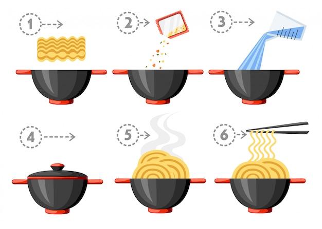 Instruções de culinária. macarrão instantâneo. ilustração plana. tigela e pauzinhos pretos. ilustração isolada no fundo branco. Vetor Premium