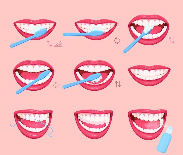 Instruções para escovar os dentes Vetor Premium