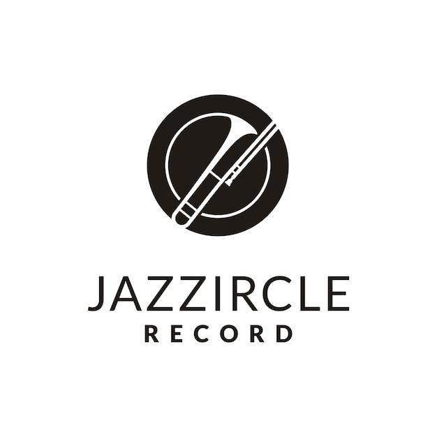 Instrumento de latão simples para jazz music logo design Vetor Premium