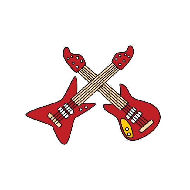 Instrumento De Musica De Guitarra Doodle Desenho Arte De Vetor De