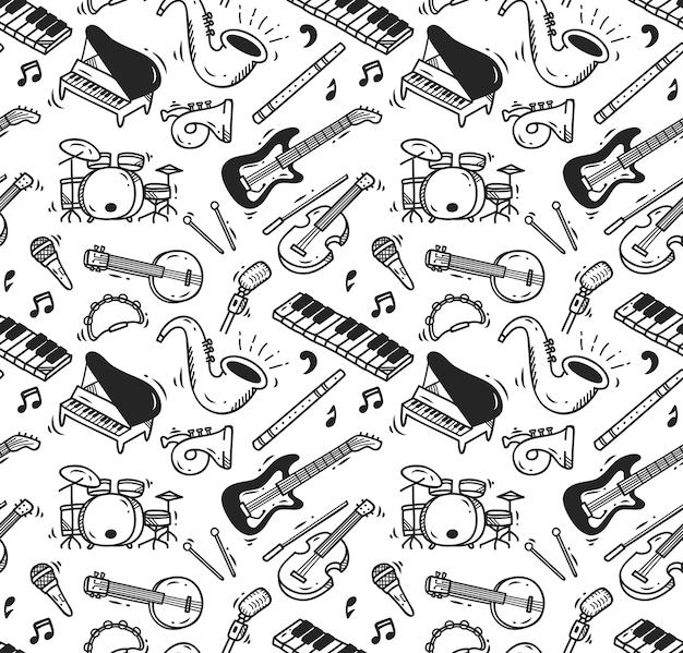 Instrumento de música doodle padrão sem costura Vetor Premium