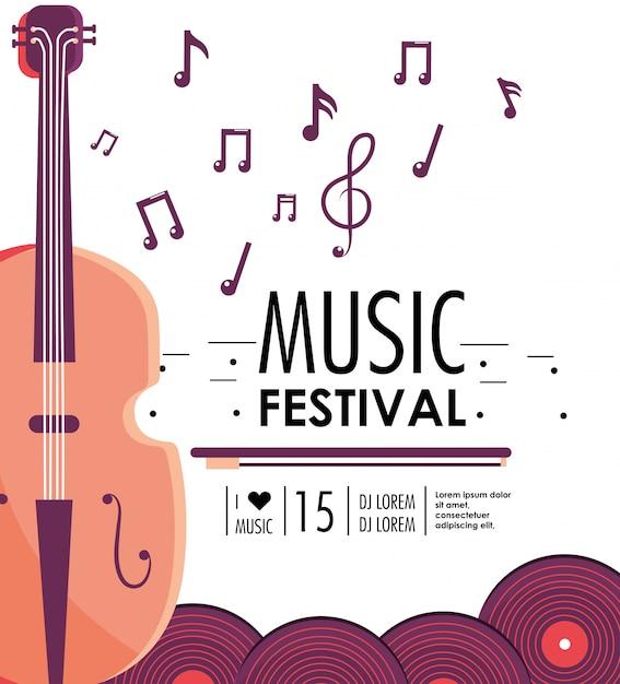 Instrumento de violino para evento de festival de música Vetor Premium