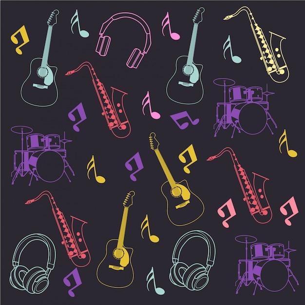 Instrumento musical e nota patternx Vetor Premium