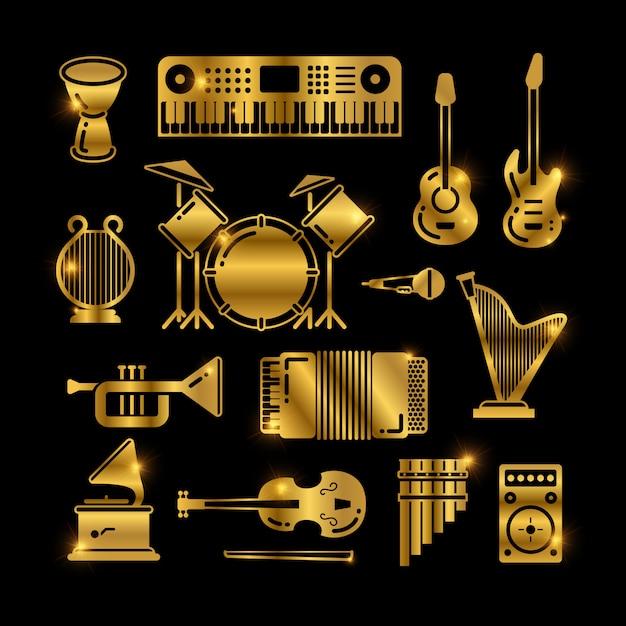 Instrumentos de música clássica dourada brilhante, ícones de silhuetas Vetor Premium