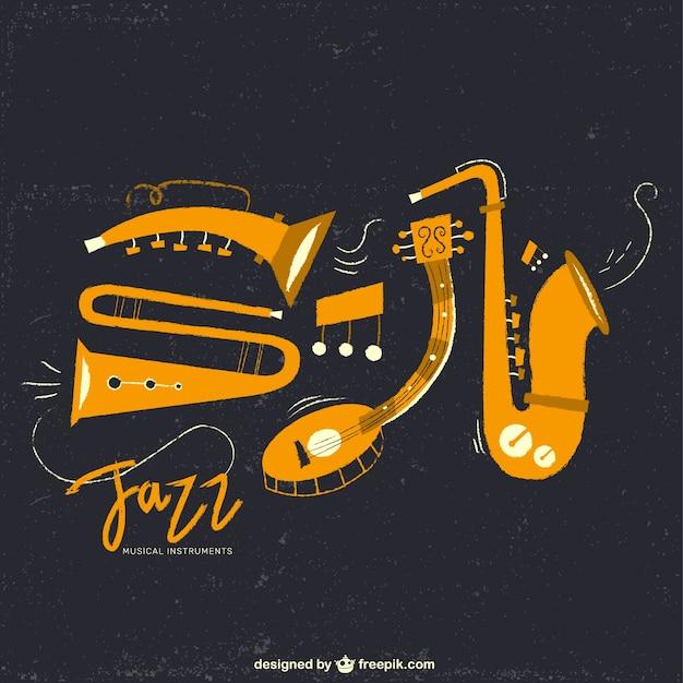 Instrumentos de música jazz Vetor grátis