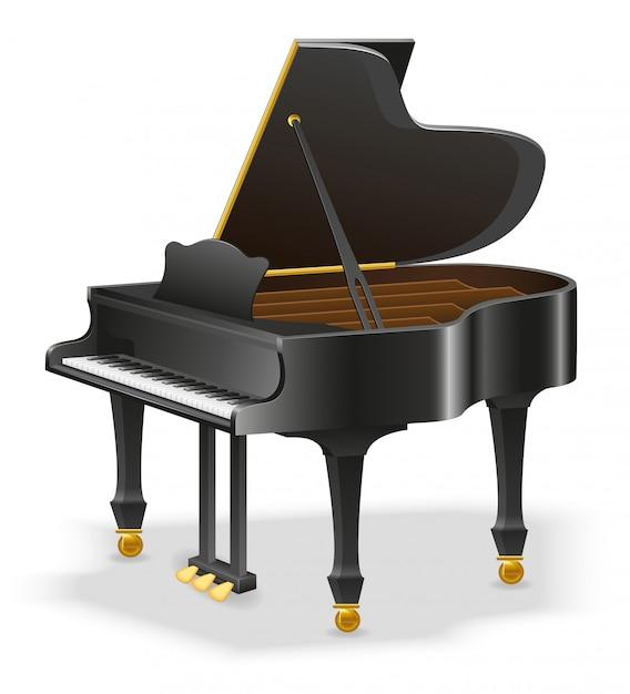Instrumentos musicais de piano de cauda Vetor Premium