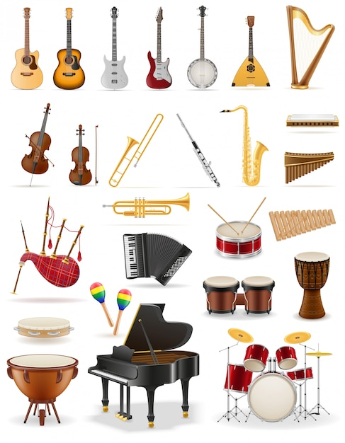 Instrumentos musicais definir estoque de ícones. Vetor Premium