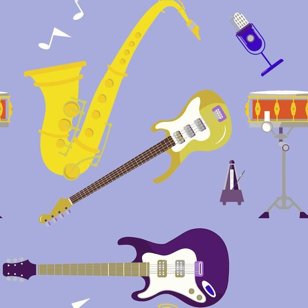 Instrumentos musicais definir ilustração em vetor de estoque ícones isolada no fundo Vetor Premium