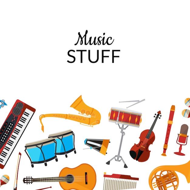 Instrumentos musicais dos desenhos animados Vetor Premium