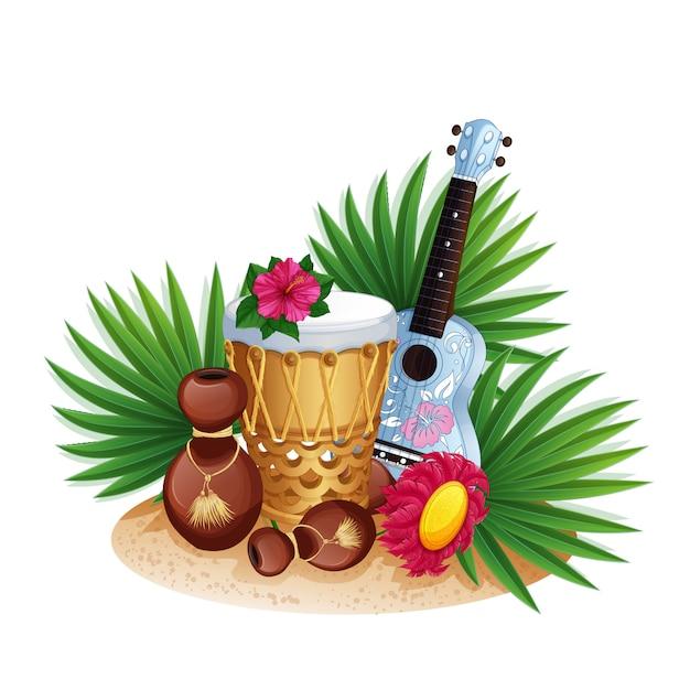 Instrumentos musicais havaianos, folhas de palmeira e hibisco. Vetor Premium