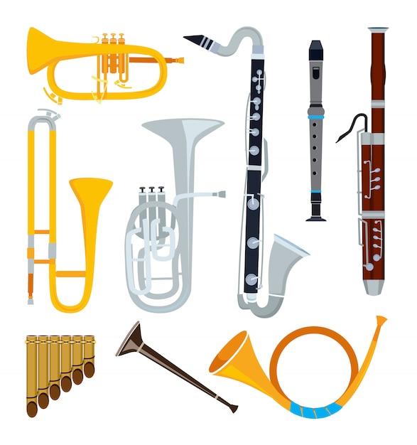 Instrumentos musicais isolados no estilo dos desenhos animados Vetor Premium