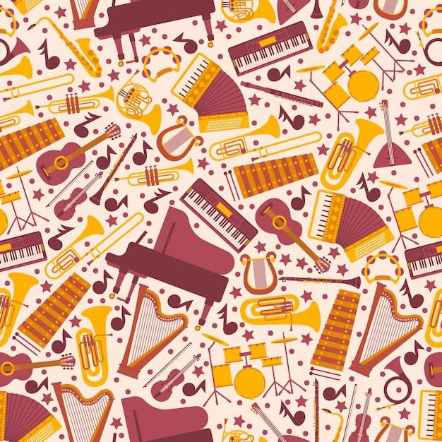 Instrumentos musicais no padrão sem emenda. papel de embrulho com ícones de piano, harpa, bateria, violão e acordeão. emblemas isolados em estilo simples Vetor Premium