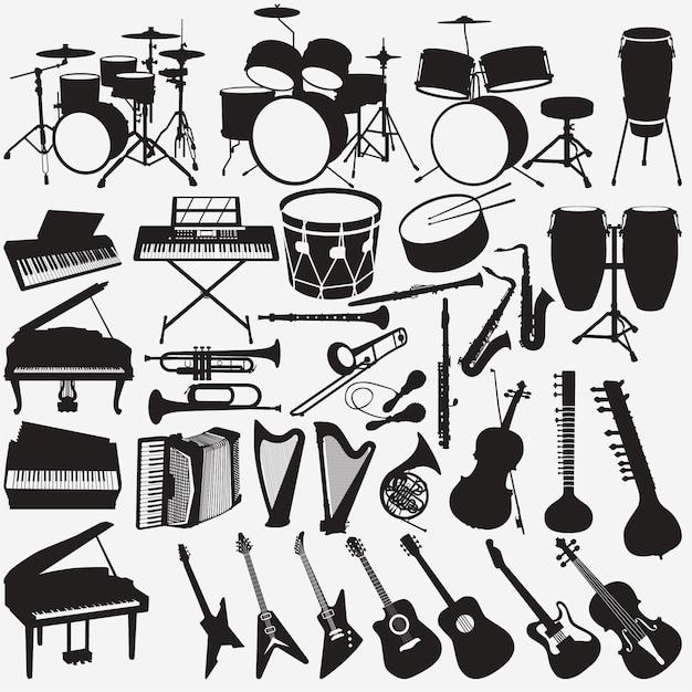 Instrumentos musicais Vetor Premium