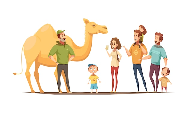 Instrutor de equitação camelo dromedário e grupo de crianças curiosas Vetor grátis